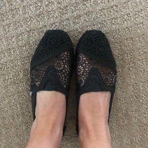 TOMS Black lace flat shoes